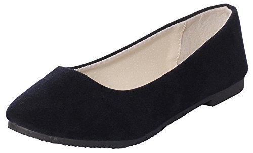 Slip De Ballet Clásico Con Punta Pronunciada Para Mujer De Ujoowalk En Zapatos Planos Mate Azul Oscuro