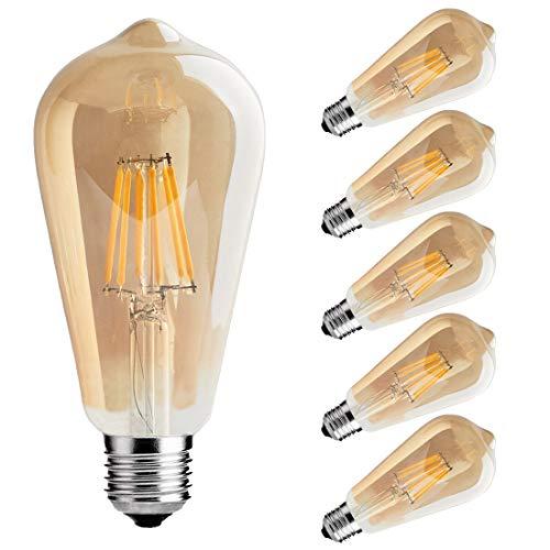 LED Edison Bulb,6w Dimmable Led Light Bulb, Vintage LED Filament Light Bulb, st64 led Bulb,2700K, Antique Style, e26 Medium Screw Base, Amber Glass Cover,6 ()