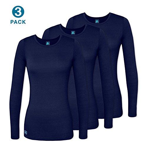 Adar Uniforms Women's Comfort Long Sleeve T-Shirt/Underscrub Tee (3 Pack) - 2903 - Navy - M (Coat Cotton Nursing)