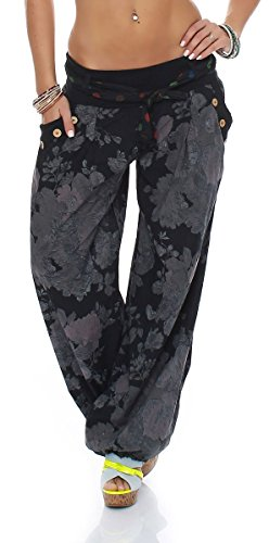 Yoga Donna Nero 3418A zuava Pump Sbuffo Pantaloni Boyfriend Taglia malito Pantaloni disegno alla Baggy Unica Harem Floreale Aladin 6TEwq7O