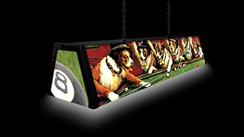44'' Acrylic Pool Table Light, Dogs Playing Pool by Bourbon Street Light Works (Image #1)