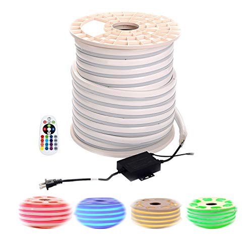 Tubes Led Neon (shine decor Led RGB Neon Lights, RGB Rope Lights, Update Waterproof 5050 60Leds/M, 150ft, 110V, Included All Necessary Accessories, Multi Color Changing + Remote Controller Flex Durable Super Bright)