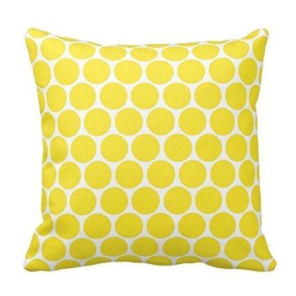 Bright Yellow Polka Dots Throw Pillow Home Sofa Decorative 1