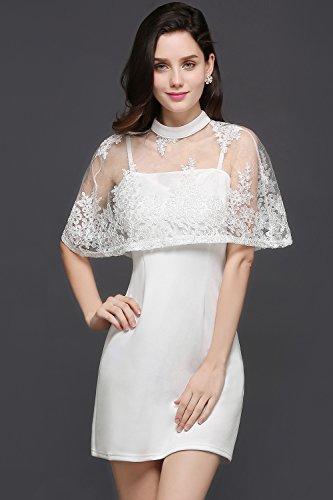 Babyonlinedress Vestido corto de fiesta de noche y para bodas vestido ajustado y elegante cuello redondo sin mangas con una capa transparente de encaje blanco