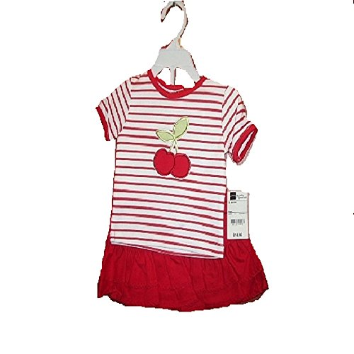 The Mayfair Girls 2 Piece Short Set,White/RED,12 Months 100% Cotton 3/4 Sleeve