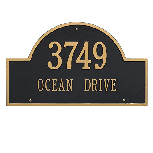 Estate Marker Address Sign - Whitehall Products Arch Marker Estate Black/Gold Wall 2-Line Address Plaque