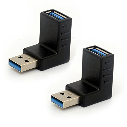 USB 3.0 Adapter 90 Degree Right Angled Gender Changers USB Connector Type A Vertical Male to Female Extender L-shape Plug 2Pcs ()