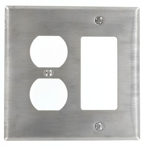 ang, Decora, 1-Duplex Receptacle Stainless Steel, Midway Size Wallplate, Stainless Steel ()