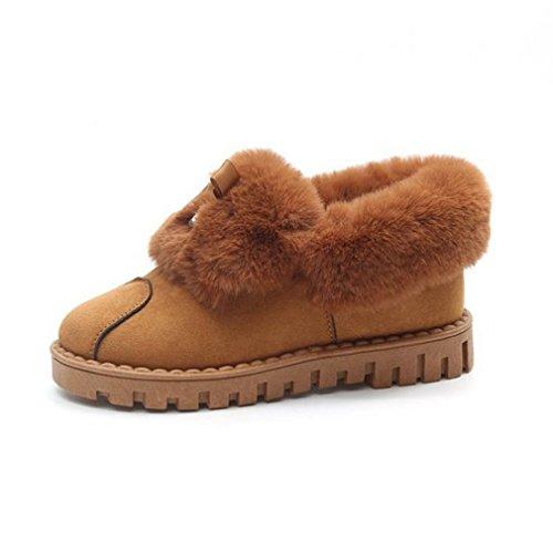 Giy Kvinners Semsket Skinn Pels Foret Snø Ankelstøvletter Vinteren Varm Vanntett Rund Tå Flat Rhinestone Snø Boot Brown