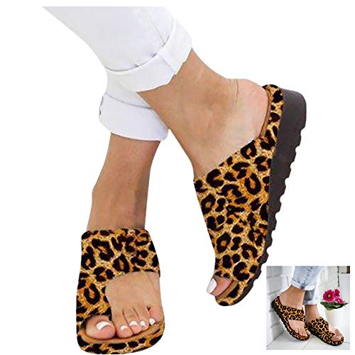 2019 New Women Comfy Platform Sandal Shoes Summer Beach Travel Shoes Fashion Sandals Comfortable Ladies Shoes Flats Leopard Wedges Open Toe Shoes Roman Slippers Sandals (43 EU/9 US, Yellow)