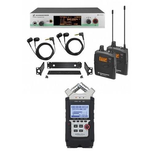Sennheiser ew 300-2 IEM G3 Wireless Stereo Audio System, A1: 470-516MHz - Includes SR 300 G3 Transmitter, 2x EK 300 G3 Diversity Receiver, 2x IE 4 Earphones, Zoom H4n Pro Mobile 4-Track Recorder by Sennheiser
