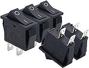 Twidec/5Pcs AC 15A/125V 20A/250V SPST 2 Pins 2 Position ON/Off Car Boat Black Rocker Switch Toggle(Quality Ass