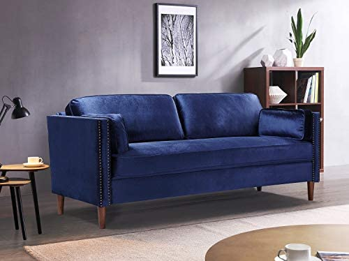 Rhomtree Velvet Sofa Couch Mid Century Upholstered Loveseat Lounger Living Room Couch 73 inch
