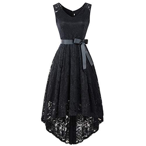 (Landfox New Years eve Dress,Dress for Women, Womens' V-Neck Sleeveless Novelty Lace High-Rise Lace Dress)