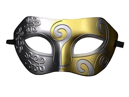 halloween mask Half face painting masks realistic silicone masquerade Knight Prince masks japanese mardi (Gold Mardi Gras Mask)