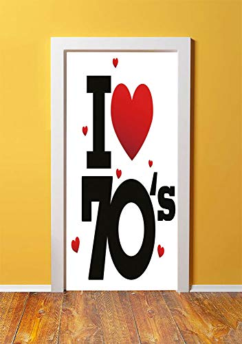 70s Party Decorations 3D Door Sticker Wall Decals Mural Wallpaper,The Seventies Icon with Big and Little Hearts Vintage Cute Typography Decorative,DIY Art Home Decor Poster Decoration 30.3x78.9602,Red ()