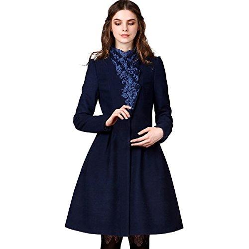 Artka Women's Fall Vintage Embroidered Cinch Waist Woolen Dress Coat,Navy,L