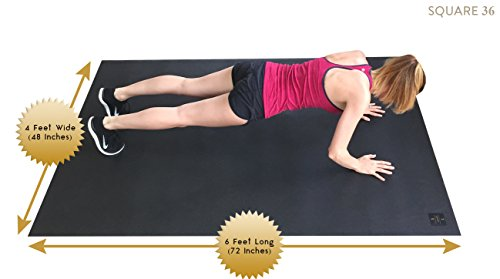 "Square36 Large Exercise Mat 78"" Long x 48"" Wide (6.5'x4') x 7mm Thick. Includes A Storage Bag and Storage Straps. Perfect For Cardio, Plyometric, MMA, Aerobic Workouts"