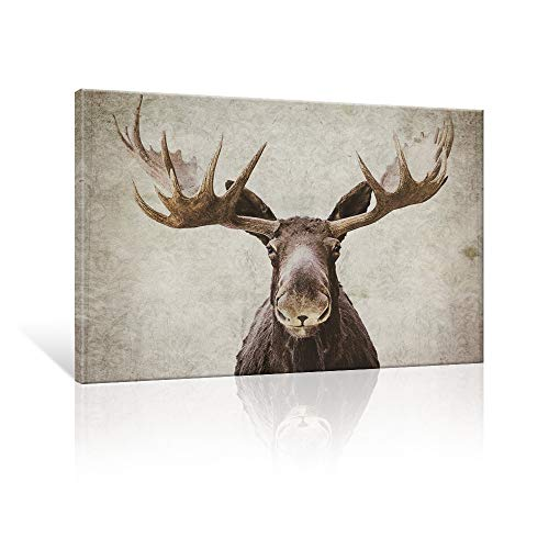SEVEN WALL ARTS -Elmer The Moose by PI Creative Art Modern Canvas Print Animal Moose Wall Pictures Vintage Giclee Print on Canvas Stretched Living Room Bedroom 24 x 36 Inch