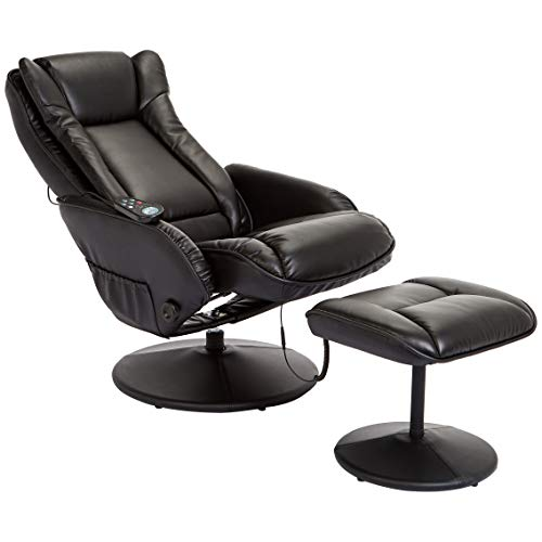 (JC Home Drammen Massaging Leather Recliner and Ottoman with Leather-Wrapped Base, Obsidian Black)