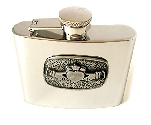 Mullingar Pewter Stainless Steel Hip Flask Claddagh