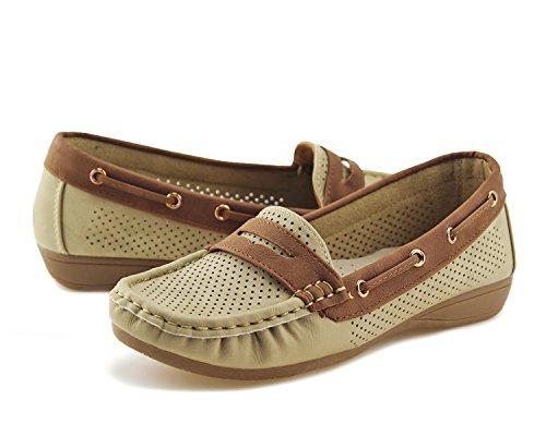 Jabasic Lady Comfort Slip-on Loafers Hollow Driving Flat Shoes(7.5,Beige) by Jabasic (Image #2)