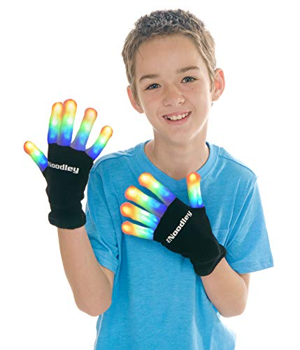 (The Noodley Flashing LED Light Gloves Kids & Teen Size (Medium,)