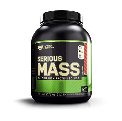 Optimum Nutrition Serious Mass Whey Protein Powder with Vitamins, Creatine and Glutamine. Protein Shakes by ON - Strawberry, 8 Servings, 2.72 kg