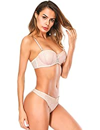 Womens Everyday Push up Lace Bra Bowknot Lingerie with Underwire Top and Panty Set