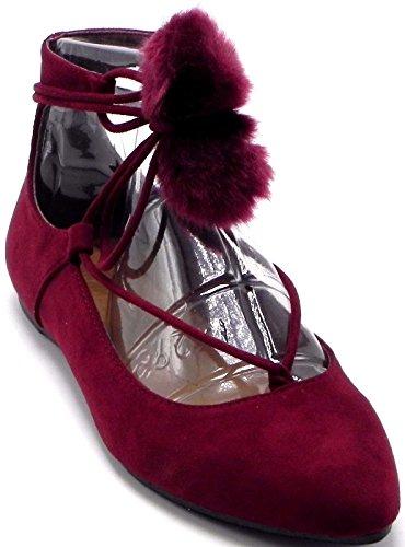 DEV Womens Pointy Toe Pom Pom Posh Tie Up Flat Pumps Sandal Shoes 6-10 Burgundy qMkcdQh