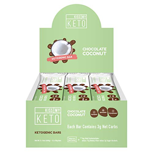 Kiss My Keto Snacks Keto Bars – Keto Chocolate Coconut, Nutritional Keto Food Bars, Paleo, Low Carb/Glycemic Keto Friendly Foods, All Natural On-The-Go Snacks, High Quality Fat Bars, 3g Net Carbs