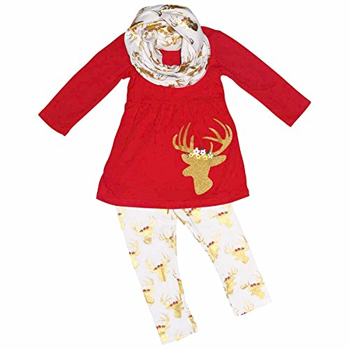 [Unique Baby Girls 3 Piece Christmas Winter Gold Reindeer Outfit (4T/M, Gold)] (Christmas Outfits Women)