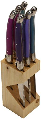 Jean Dubost JD5-16411PROV Steak Knives in Block, one size, Dark Light Purple