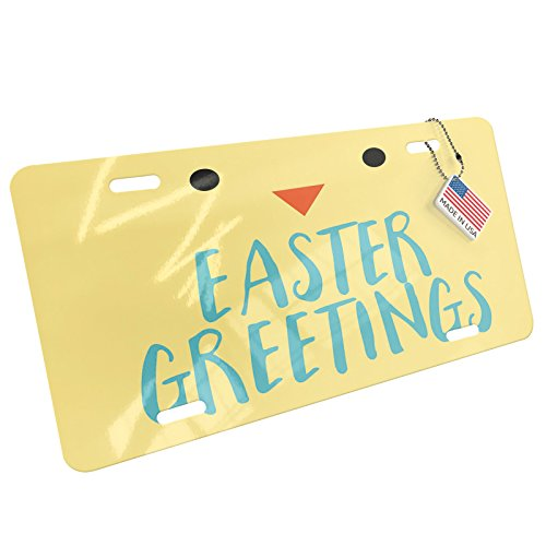 NEONBLOND Easter Greetings Easter Chick Face Aluminum License Plate ()