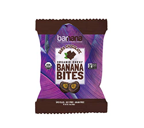 - Organic Dark Chocolate Chewy Banana Bites - 1.4 Ounce (12 Count) - Delicious Barnana Coated Potassium Rich Banana Snacks - Lunch Dinner Sports Hiking Natural Snack - Whole 30, Paleo, Vegetarian