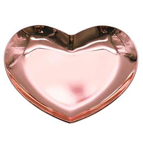 (Timoo Stainless Steel Heart-Shaped Jewelry Tray, Trinket Dish for Organizing Ring, Earrings, Jewelry, Charms, Pendants (Rose Gold, 3.5'' x 3.3''))