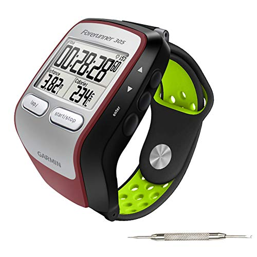 Five Star Online Replacement Band Compatible with Forerunner 205/305 Watch, Silicone Quickly Release Watch Bands Strap Strip for Forerunner 205/305 205 GPS Receiver Sports Watch(Black & Green) (Garmin 205 Replacement Band)