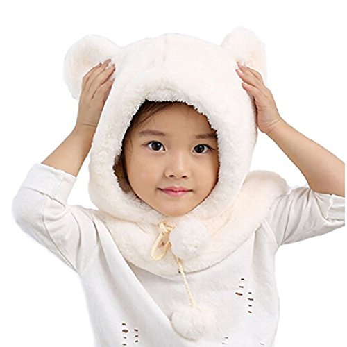 Fur Satin Hat (Baby Hat Scarf Winter Warm Earflap Baby Child Girls Boys Hats Hooded Scarf Cotton Velvet Skull Cap (White))