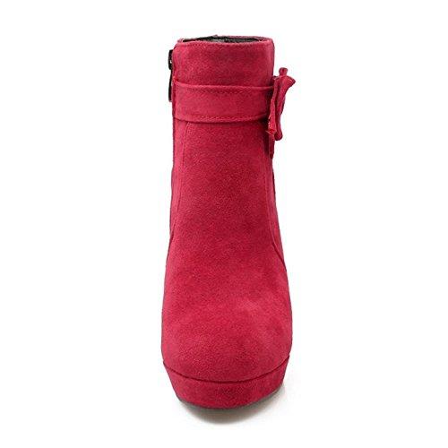 COOLCEPT Damen Gemutlich Blockabsatz High Heel Zipper Stiefeletten Mit Bogen Red