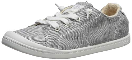 Roxy Women's Bayshore Slip on Shoe Sneaker, Grey/White, 8.5 Medium US