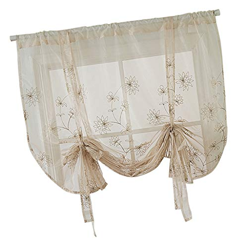 Fityle Embroidery Adjustable Tie-Up Curtain Shades Balloon Curtains for Kitchen Bathroom Small Window 46inch Wide x 63inch High - Flowers (117x160cm)