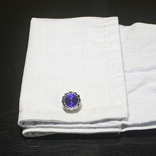 鎌倉カフス工房 ラウンドブルーデザインカフスボタン cf2220