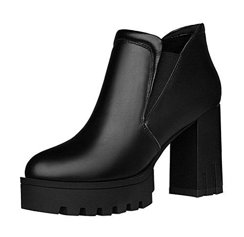 T&Mates Womens Sweet Round Toe Platform High Chunky Heel Slip-On Leather Ankle Booties (7.5 B(M)US,Black)