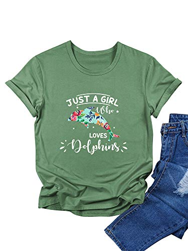 OUNAR Damen Just A Girl Loves Dolphins Briefdruck Oben Delfine Grafikdruck T-Shirts Blumenmuster Lässige Top