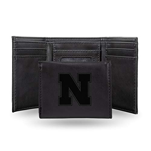 - Rico Industries NCAA Nebraska Cornhuskers Laser Engraved Tri-Fold Wallet, Black