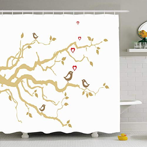 Ahawoso Shower Curtain 72x78 Inches Creature Brown Gold Two Love Birds On Golden Tree Nature Red Heart Wedding Affection Amazing Waterproof Polyester Fabric Set with Hooks
