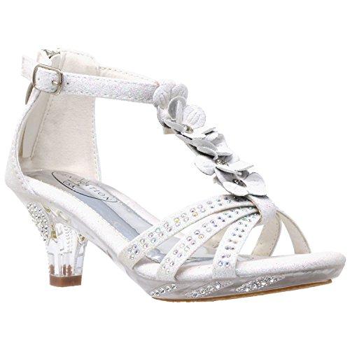 Generation Y Kids Heel Sandals T-Strap Flower Glitter Rhinestone Clear Low Heels White SZ 3 -