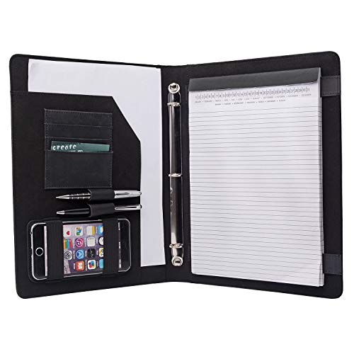 - iCarryAlls Vintage Crazy Horse Leather Padfolio, with 3-Ring Binder for Letter-Size / A4 Notepad and Documents, Black