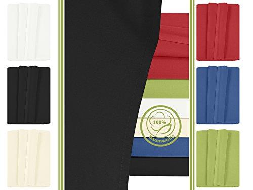 Betttuch - Haustuch - Bettlaken - aus 100% Baumwolle in 6 ausgesuchten Farben - Laken ohne Gummizug - Einheitsgröße von ca. 150 x 250 cm, schwarz