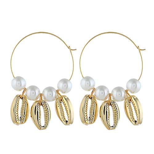 (Earrings for Girls,Mebamook Simple Large Metal Pearl Natural Shell Earrings Ladies Jewelry)
